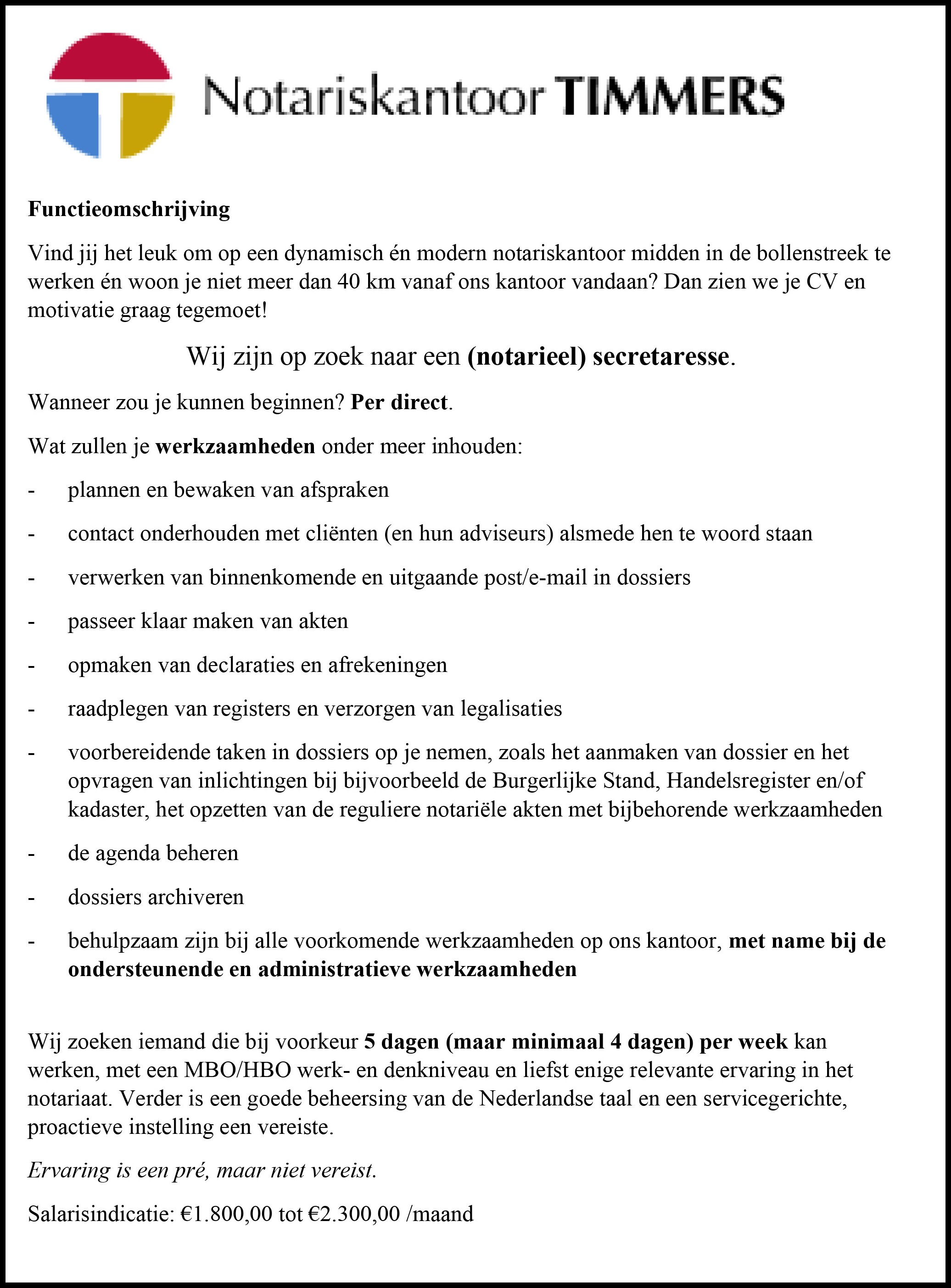 vacature Timmers
