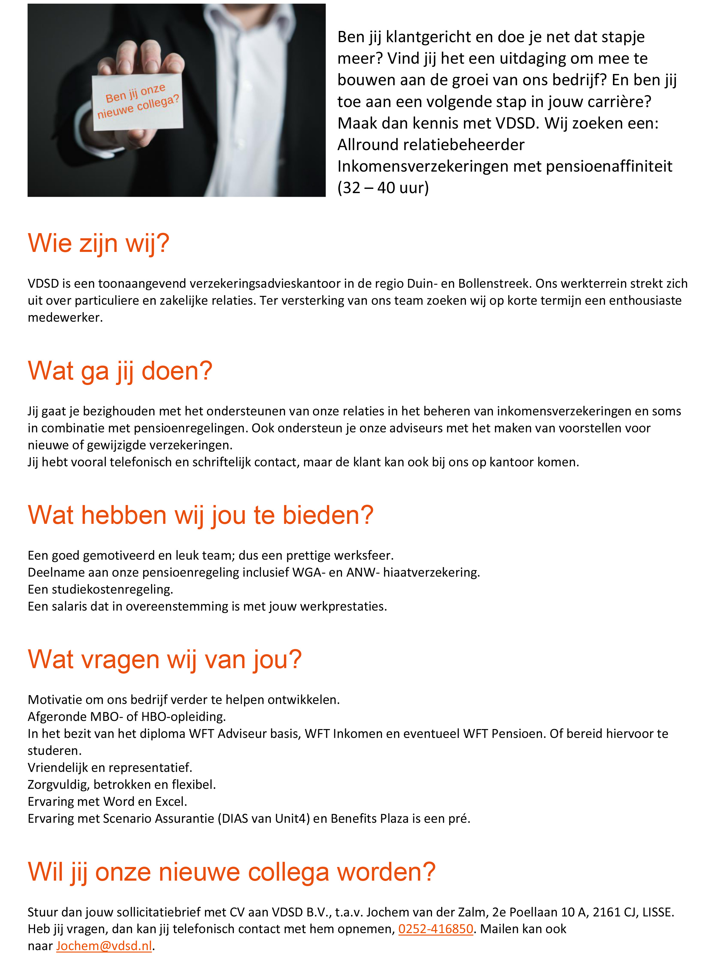 vacature VDSD